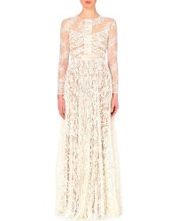 Elie Saab Semi-Sheer Lace Gown - For Women floral - Lyst