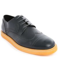 Kenzo Clevin Navy Leather Derbies With Orange Sole - Lyst