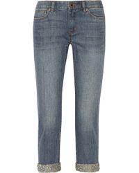 MICHAEL Michael Kors Studded Denim Boyfriend Jeans - Lyst