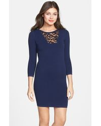 French Connection 'Dannie Ludo' Knit Body-Con Dress - Lyst