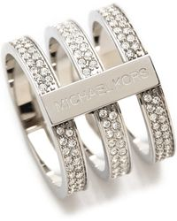 Michael Kors - Tri Stack Open Pave Bar Ring Silverclear - Lyst