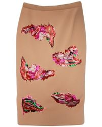MSGM Embroidered Camel Pencil Skirt - Lyst
