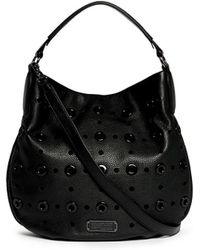 Marc By Marc Jacobs 'New Q Hillier' Grommet Perforated Leather Hobo Bag black - Lyst