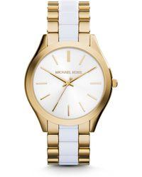 Michael Kors Slim Runway Gold-Tone Acetate Watch - Lyst
