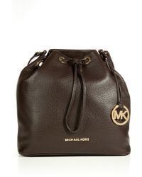 Michael by Michael Kors Textured Leather Drawstring Satchel - Lyst