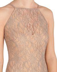 Badgley Mischka Lace Halter Evening Gown - Lyst