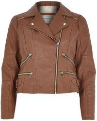 River Island Brown Leather-Look Zip Biker Jacket - Lyst