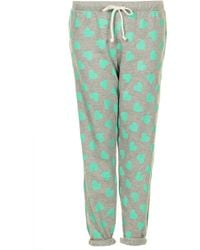 Topshop Towel Heart Print Trousers - Lyst
