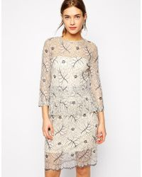 Ganni Dress In Lace With Peplum - Lyst