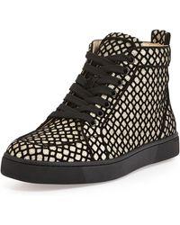 Christian Louboutin Rantus Orlato Glittered Hightop Sneaker - Lyst