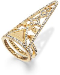 House Of Harlow Gold-tone Crystal Triangle Finger Ring - Lyst