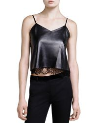 The Kooples - Cropped Leather Cami - Lyst