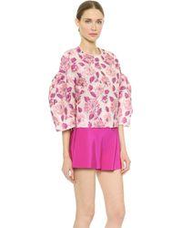 Giambattista Valli Bell Sleeve Floral Blouse - Pink - Lyst