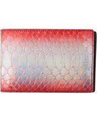 Raf Simons Leather Printed Bifold Wallet Metallic Red - Lyst