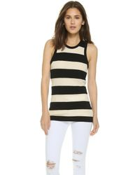 James Perse Inside Out Tomboy Tank - Natural/Black black - Lyst
