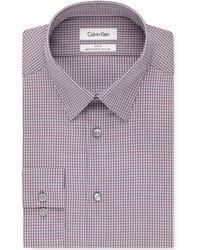 Calvin Klein Steel Slim-Fit Non-Iron Pink Multi-Check Performance Dress Shirt pink - Lyst