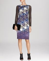 Karen Millen Dress - Zigzag Check Print Signature Stretch - Lyst