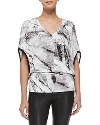 Helmut Lang Terrene Marble Print Jersey Top - Lyst