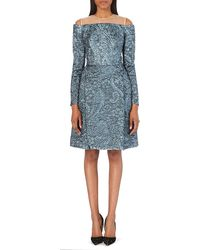 Erdem Offtheshoulder Floraljacquard Dress Blue - Lyst