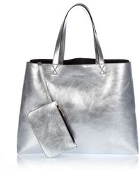 River Island Silver Reversible Beach Bag And Purse - Lyst