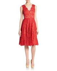 Vera Wang Scarlet Fit-And-Flare Lace Dress - Lyst