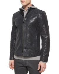 John Varvatos Leather Moto Racer Jacket - Lyst