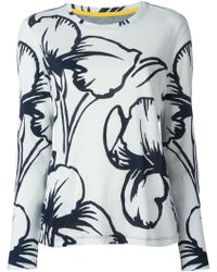 Tory Burch Flower Printed Longsleeve T-Shirt - Lyst