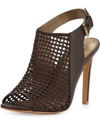Cynthia Vincent - Francine Woven Leather Slingback Sandal - Lyst
