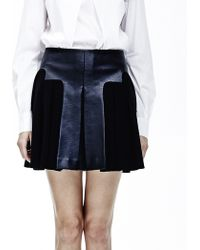 Cres. E Dim Layered Leather Pleated Skirt - Lyst
