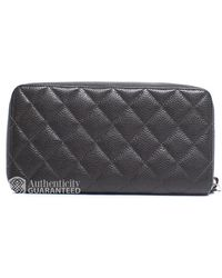 Chanel Pre-Owned Grey Caviar Quilted Zip Around Wallet - Lyst
