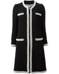Moschino Chain Embellished Coat - Lyst