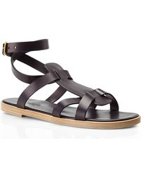 Hermès Black Ankle Strap Sandals - Lyst