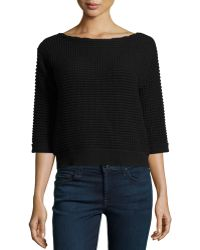 Todd And Duncan - 3/4-sleeve Boat-neck Thermal Sweater - Lyst