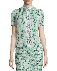 J. Mendel Ikat-Print Pleated Button Blouse green - Lyst