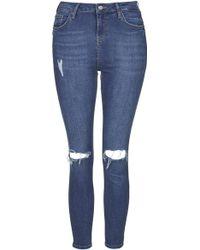 Topshop Petite Moto Blue Jamie Jeans  Blue - Lyst