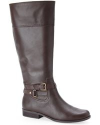 Anne Klein Brown Cold Feet Wide Riding Boots - Lyst