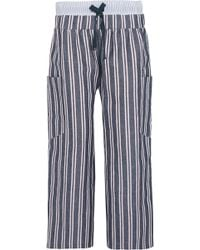 Suno Striped Woven Linen And Cotton-Blend Wide-Leg Pants - Lyst