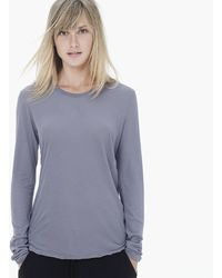 James Perse High Gauge Jersey Long Sleeve Crew - Lyst