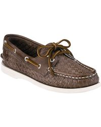 Sperry Top-Sider Authentic Original Woven Leather Boat Shoes - Lyst