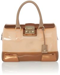 Furla Candy Neutral Lock Bowling Bag - Lyst
