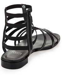 Stuart Weitzman Caesar Stretch Gladiator Sandal Black Made To Order - Lyst