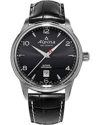 Alpina - Al-525b4e6 Alpiner Stainless Steel And Leather Watch - Lyst