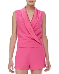 L'Agence - Satin-Collar Sleeveless Jumpsuit - Lyst