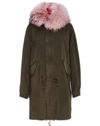Mr & Mrs Italy - Pastel Pink Fox Lined Dark Green Parka - Lyst
