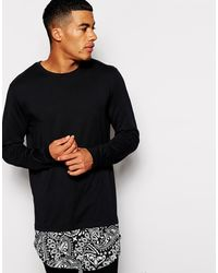 Asos Super Longline Long Sleeve T-shirt with Paisley Extended Hem - Lyst
