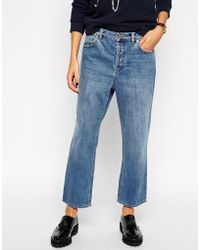 Asos Maddox Parallel Jeans In Mid Vintage Wash - Lyst