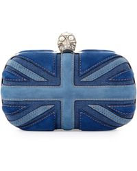 Alexander McQueen Brittania Suede Denim Skull Box Clutch Blue Denim - Lyst