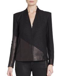 Helmut Lang Asymmetrical Seamed Leather-Paneled Jacket - Lyst