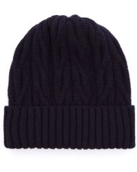 John Smedley - Navy Peak Cable Knit Wool And Cashmere-Blend Beanie - Lyst