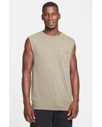 T By Alexander Wang Slub Distressed Pocket Muscle T-Shirt - Lyst